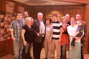 Mickey and family after recieving his Citizen of the Year award.