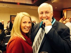 Mickey with daughter Jennifer after being inducted into the Law Enforcement Hall of Fame
